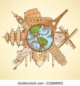Sketch famous buildings around planet Earth, background