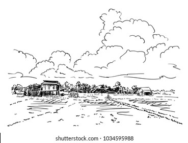 Sketch of farm filds and village landscape under cumulus clouds, Hand drawn vector illustration