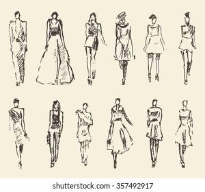 Sketch of fashion girls, hand drawn vector illustration