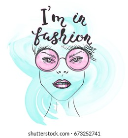 Sketch fashion illustration of a girl with glasses. I'm in fashion hand drawn lettering. Ideal for T-shirt, accessories or poster.