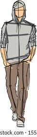 Sketch of fashion man - vector