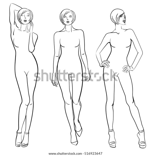 Sketch Fashion Models Templates Design Stock Vector (Royalty