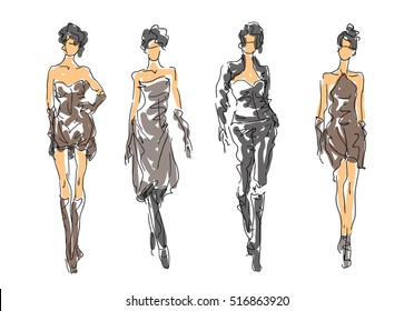Sketch Fashion Poses - Women in attractive clothes