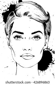 sketch a fashion woman face and ink splashes