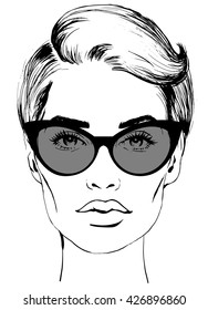 sketch a fashion woman face in sunglasses