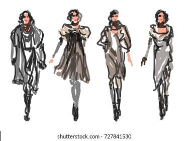 Sketch Fashion Women Models