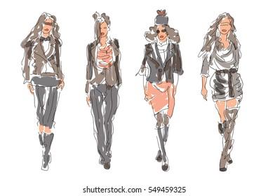 Sketch Fashion Women - modern clothes