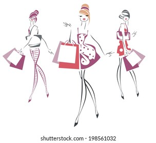 Sketch of fashionable women with  bags