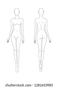 Sketch of the female body. Front and back view. Put your hands in the length of the body, legs in motion. Female body template for drawing clothes. You can print and draw directly on sketches.