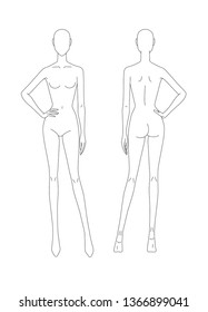 Sketch of the female body. Front and back view. The position of the hand at the waist. Female body template for drawing clothes. You can print and draw directly on sketches. Fashion Illustration.