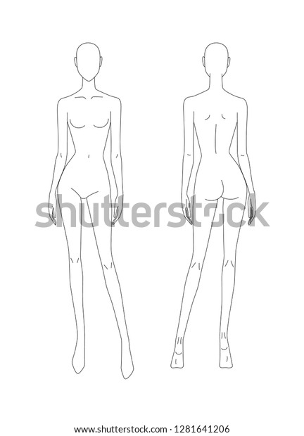 Sketch Female Body Girl Model Front Stock Vector Royalty Free
