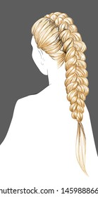 A Sketch of a Female Braiding Hairstyle. Trendy Bridal Hairstyling. Fashion Vector Illustration. Freehand Drawing. Evening Updo for Long Blond Hair. Young Beautiful Woman. Blonde Girl. Vintage Style/
