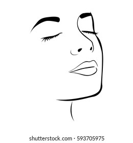 sketch female face silhouette with eyes closed vector illustration