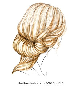 A Sketch of a Female Hairstyle. Vector Illustration. Hand Drawing. Freehand Drawn. Blonde Hair. Beautiful Woman. Fashion Illustration. Ancient Greece Style Updo with a Hairband.