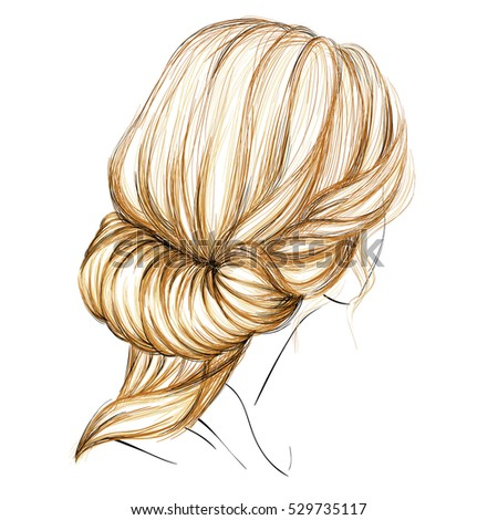 Sketch Female Hairstyle Vector Illustration Hand Stock Vector