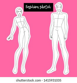 Sketch of the female and male body. Technical drawing. Body template for drawing clothes. Vector outline models template for fashion sketching. Fashion stock illustration.