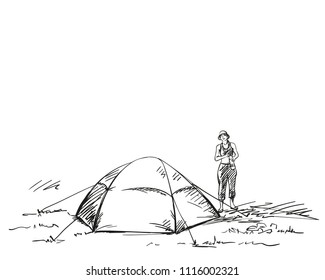 Sketch of female tourist standing next to tent, Hand drawn vector illustration