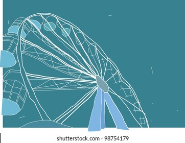Sketch for Ferris Wheel isolated on blue background : vector illustration