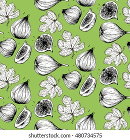 Sketch figs seamless pattern
