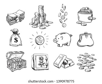 Sketch of finance money set. Sack of dollars, stack of coins, coin with dollar sign, treasure chest, stack of bills, falling coins, bank safe, piggy bank, gold bars, purse, wallet. Hand drawn vector.