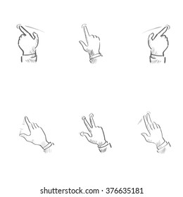 Sketch Finger Gesture Touch Screen Sign Set Collection Vector Illustration