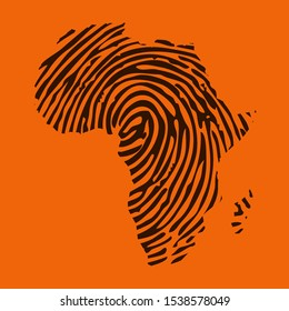 Sketch fingerprint african continent map banner. Dactylogram africa style poster. Flat pattern africa image. Dark Continent Africa ligneous abstract background. African continent timbered silhouette