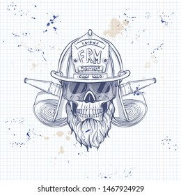 Sketch, fireman skull with helmet, beard, firehose and glasses. Poster, flyer design on a notebook page