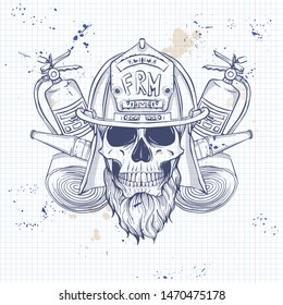 Sketch, fireman skull with helmet, beard, fire extinguisher and firehose. Poster, flyer design on a notebook page