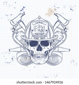 Sketch, fireman skull with helmet, fire extinguisher, axe and firehose. Poster, flyer design on a notebook page