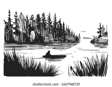 Sketch of a fisherman on a lake. Hand drawn illustration converted to vector. Black on transparent background