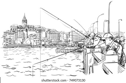 Sketch of fishermen on Galata bridge in Istanbul with cityscape and Galata tower on background, Vector hand drawn illustration of famous turkish landmark