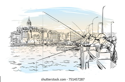 Sketch of fishermen on Galata bridge in Istanbul with cityscape and Galata tower on watercolor background, Vector hand drawn illustration of famous turkish landmark