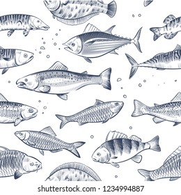 Sketch fishes seamless pattern. Etched ocean fish wrapper vector vintage background