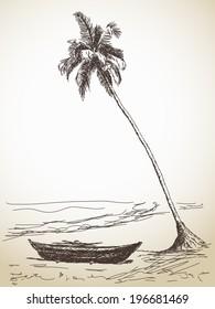 Sketch of fishing boat under palm tree, Hand drawn illustration