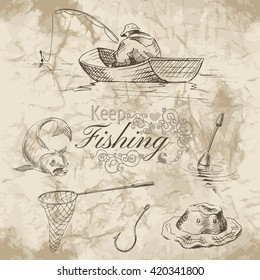 Sketch of fishing. A fisherman in a boat, hook, net and fish on old paper background. Vector illustration.