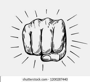 Sketch of fist. Hand drawn illustration converted to vector