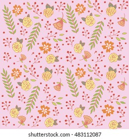 sketch flora seamless pattern