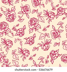 sketch flowers background, ornament vector, floral pattern, seamless flowers