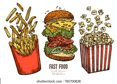 Sketch flying fast food collection with classic burger, box with french fries and popcorn with levitation ingredients. Vector colorful hand drawn illustration for menu, advertising, banners