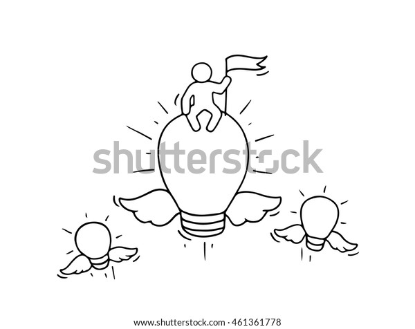 Sketch of flying lamp ideas. Doodle cute miniature scene of creative worker. Hand drawn cartoon vector illustration for business design and infographic.