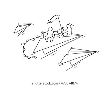 Sketch of flying paper plane with little workers. Doodle cute miniature about leadership and discovery. Hand drawn cartoon vector illustration for business and education design.