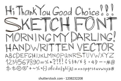 Sketch font. Alphabet handwritten, comic strip style.