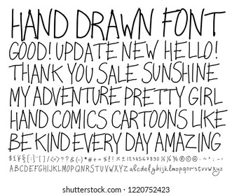 Sketch font. Alphabet handwritten, comics style.