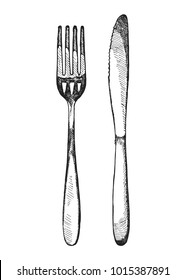 sketch fork and knife cutlery. vector