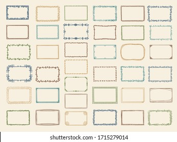 Sketch frames. Album doodle dividers and stylized square shapes scribble lines vector collection
