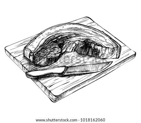 sketch fresh raw pork piece 450w 1018162060 sketch fresh raw pork piece hand stock vector (royalty free