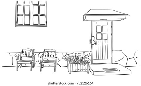 Sketch of front door with small square decorative windows, two armchairs, window and flower pot, Hand drawn vector linear illustration