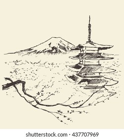 Sketch of Fuji mountain with pagoda and cherry blossoms, Japan. Vector illustration, engraved style