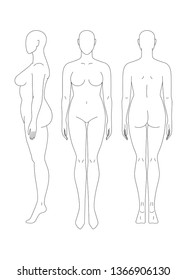 Sketch of a full female body. Front, side and rear view. Female body template for drawing clothes. You can print and draw directly on sketches.