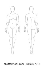 Sketch of a full female body. Front and back view. The position of the hands along the length of the body, legs in motion. Female body template for drawing clothes. You can print and draw directly on